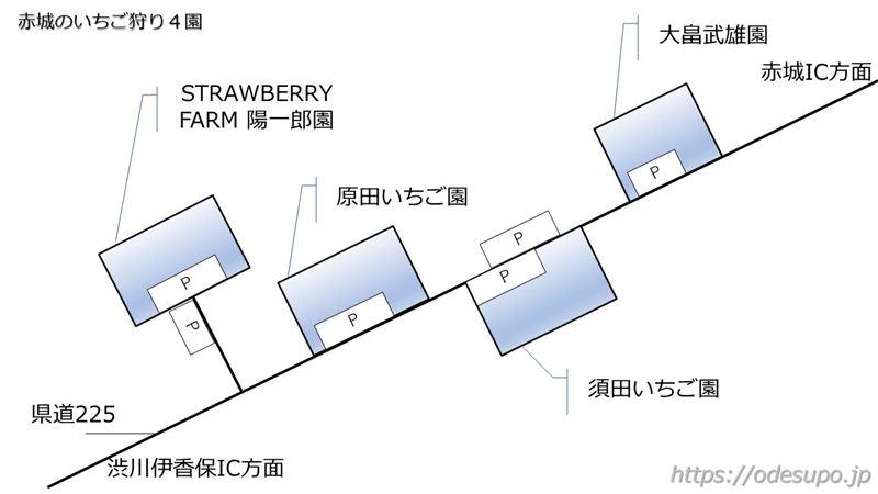 赤城のいちご園マップ