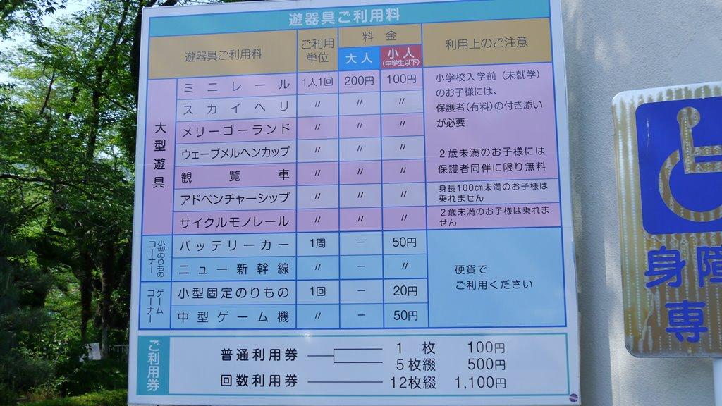 桐生が岡遊園地 料金表