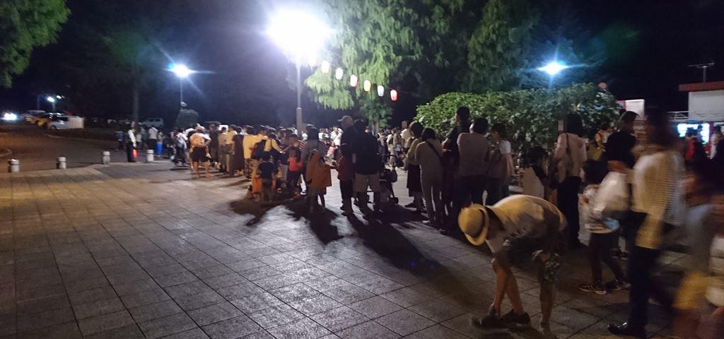 渋川スカイランドパーク花火大会のピストン輸送混雑の様子
