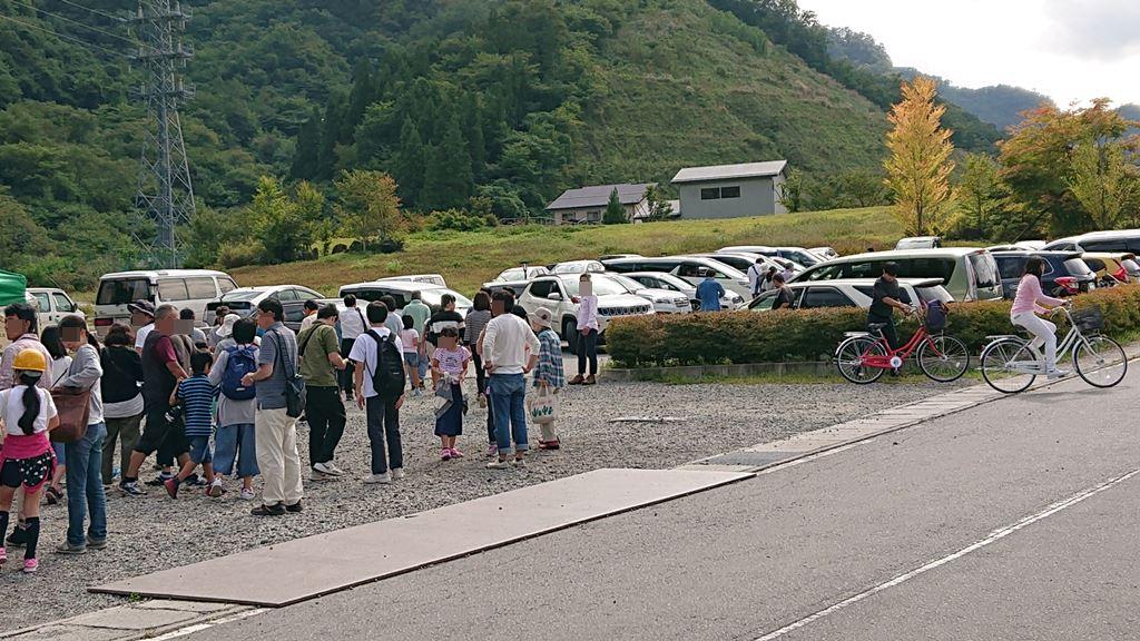 八ッ場ダム見学会の駐車場